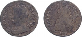 Charles II (1660-1685). Farthing, 1673, Cuir. bust, CAROLA error. (BMC 523, S.3394). Only Fair but the error very clear and extremely rare. Ex Farthin...