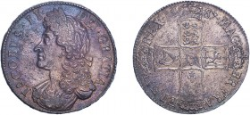 James II (1685-1688). Crown, 1687, second bust, TERTIO edge. (ESC 743, S.3407). Light weakness in high points as usual, Good Extremely Fine with an at...