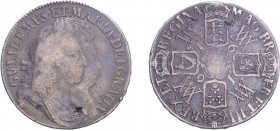 William & Mary (1688-1694). Crown, 1691, conjoined busts, TERTIO edge. (ESC 820, S.3433). Flan flaws otherwise Very Good.