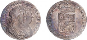 William & Mary (1688-1694). Halfcrown, 1689, second reverse, no forsting and no pearls. (ESC 846, S.3435). Very light weakness in portrait, Nearly Ext...