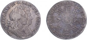 William & Mary (1688-1694). Halfcrown, 1693/3, 3 over inverted 3, second busts, no stop after GRATIA, edge QVINTO (ESC 858, S.3436). Fine, scarce.