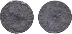 William & Mary (1688-1694). Halfpenny, 1690, tin issue, large busts. (BMC 570A, S.3448). Good Fine with some tin pest. Scarce. With old Spink ticket f...