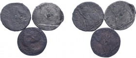 William & Mary (1688-1694). Farthings (3), 1691 (2), 1692, tin issue. (BMC -, S.3451). Edge types not visible. Good to Very Good.