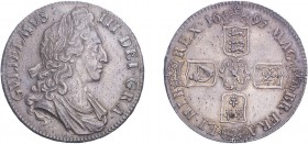 William III (1694-1702). Crown, 1695, first bust, OCTAVO edge. (ESC 991, S.3470). Extremely Fine with an attractive even tone.