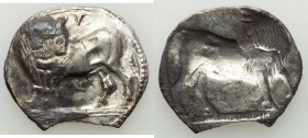 LUCANIA. Sybaris. Ca. 550-510 BC. AR stater or nomos (27mm, 6.59 gm, 12h). VF, chipped. Bull standing left, head right; V above / Obverse, incuse and ...