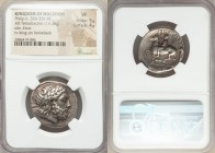 MACEDONIAN KINGDOM. Philip II (359-336 BC). AR tetradrachm (26mm, 14.36 gm, 6h). NGC VF 5/5 - 4/5. Amphipolis, lifetime issue, 356-355 BC. Laureate he...