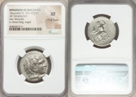 MACEDONIAN KINGDOM. Alexander III the Great (336-323 BC). AR tetradrachm (25mm, 5h). NGC XF, Fine Style. Lifetime issue of Lampsacus, ca. 328-323 BC. ...