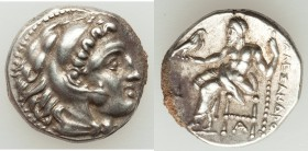 MACEDONIAN KINGDOM. Alexander III the Great (336-323 BC). AR drachm (15mm, 4.25 gm, 1h). XF, encrustation. Late lifetime or early posthumous issue of ...