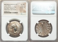 MACEDON. Under Roman Rule. First Meris. Ca. 167-148 BC. AR tetradrachm (31mm, 16.80 gm, 8h). NGC Choice AU 5/5 - 5/5. Bust of Artemis right, wearing s...
