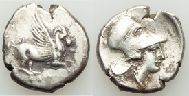 ACARNANIA. Leucas. Ca. 400-330 BC. AR stater (20mm, 8.43 gm, 11h). Fine. Pegasus flying right, Λ below / Head of Athena right in Corinthian helmet pus...