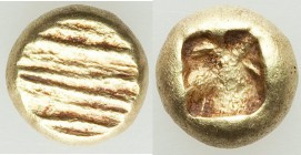 IONIA. Uncertain mint. Ca. 650-600 BC. EL 1/12 stater or hemihecte (7mm, 1.32 gm). XF. Milesian standard. Flattened striated surface / Incuse square p...