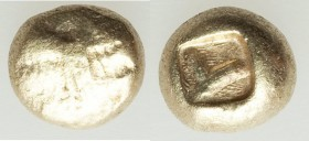 IONIA. Uncertain mint. Ca. 650-600 BC. EL 1/12 stater or hemihecte (7mm, 1.20 gm). VF. Uncertain pattern of light lines. / Incuse square punch with ir...