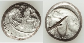 CILICIA. Mallus. Ca. 425-385 BC. AR stater (20mm, 10.74 gm, 4h). Choice Fine, test cut. Beardless male, winged, in kneeling/running stance right, hold...