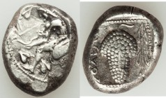 CILICIA. Soloi. Ca. 440-400 BC. AR stater (19mm, 10.69 gm, 10h). VF. Amazon on one knee left, wearing pointed cap, bowcase attached to belt, examining...