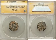JUDAEA. Herodians. Herod III Antipas (4 BC-AD 39). AE half denomination (20mm, 8.44 gm, 12h). ANACS VF 25. Tiberias, dated Regnal Year 43 (AD 39/40). ...