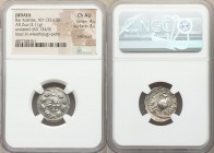 JUDAEA. Bar Kokhba Revolt (AD 132-135). AR zuz (19mm, 3.11 gm, 1h). NGC Choice AU 4/5 - 4/5, overstruck. Undated issue of Year 3 (AD 134/5). Simon (mo...