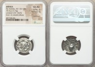 JUDAEA. Bar Kokhba Revolt (AD 132-135). AR zuz (20mm, 3.19 gm, 1h). NGC Choice AU 4/5 - 3/5, overstruck. Undated issue of Year 3 (AD 134/5). Simon (Pa...