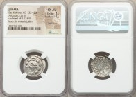 JUDAEA. Bar Kokhba Revolt (AD 132-135). AR zuz (20mm, 3.31 gm, 1h). NGC Choice AU 4/5 - 4/5, overstruck. Undated issue of Year 3 (AD 134/5). Simon (Pa...