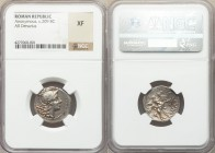 Anonymous. 211-210 BC. AR denarius (19mm, 10h). NGC XF. Spearhead series. South Italy mint. Head of Roma right, wearing winged helmet decorated with g...