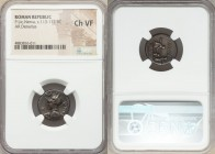 P. Licinius Nerva (ca. 113-112 BC). AR denarius (17mm, 9h). NGC Choice VF. Rome. ROMA, helmeted bust of Roma left, spear in right hand over shoulder, ...