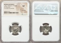 L. Philippus (ca. 113-112 BC). AR denarius (18mm, 9h). NGC VF, brockage. Rome. ROMA in monogram behind head of Philip V of Macedon right, wearing helm...
