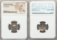 L. Marcius Censorinus (ca. 82 BC). AR denarius (18mm, 12h). NGC VF. Rome. Laureate head of Apollo right / L•CENSOR, Satyr Marsyas walking left, raisin...