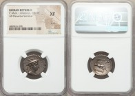 C. Mamilius Limetanus (ca. 82 BC). AR denarius serratus (20mm, 9h). NGC XF, scuff. Rome. Draped bust of Mercury right, wearing winged petasus, caduceu...