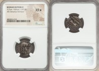 A. Postumius A.f. Sp.n. Albinus (ca. 81 BC). AR denarius serratus (19mm, 4h). NGC XF S. Rome. HISPAN, veiled bust of Hispania right with disheveled ha...