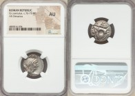 Cn. Cornelius Lentulus (ca. 76-75 BC). AR denarius (19mm, 4h). NGC AU. Uncertain mint in Spain. G•P•R, diademed and draped bust of bearded Genius Popu...