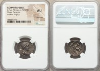 L. Farsuleius Mensor (ca. 76/5 BC). AR/AE fourée denarius (19mm, 8h). NGC AU, core visible. Ancient Forgery. Rome. Diademed and draped bust of Liberta...