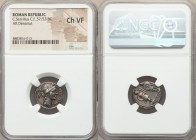 C. Servilius C.f. (ca. 57/53 BC). AR denarius (17mm, 10h). NGC Choice VF. Rome. FLORAL•PRIMVS (AL and MV ligate), head of Flora right, wreathed with f...
