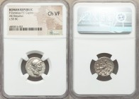 P. Fonteius P.f. Capito (ca. 55 BC). AR denarius (17mm, 10h). NGC Choice VF. Rome. P•FONTEIVS•P•F-CAPITO•III•VIR, helmeted, draped bust of Mars right,...