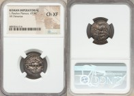 L. Plautius Plancus (ca. 47 BC). AR denarius (18mm, 9h). NGC Choice XF. L•PLAVTIVS, head of Medusa facing, coiled snake on either side / PLANCVS, Vict...
