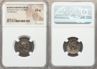 M. Porcius Cato (ca. 47-46 BC). AR denarius (19mm, 11h). NGC VF S. M•CATO•PRO•PR (AT ligate), draped bust of Roma right, thin band in hair visible on ...