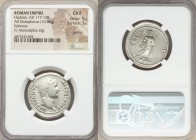 Hadrian (AD 117-138). AR cistophorus (26mm, 10.88 gm, 7h). NGC Choice Fine 5/5 - 3/5, graffito. Ephesus, after AD 128. HADRIANVS-AVGVSTVS P P, bare he...