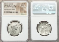 Hadrian (AD 117-138). AR cistophorus (26mm, 10.52 gm, 12h). NGC Choice VF 3/5 - 3/5, overstruck, graffiti. Smyrna, after AD 128. HADRIANVS-AVGVSTVS P ...