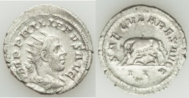 Philip I (AD 244-249). AR antoninianus (23mm, 3.62 gm, 1h). XF. Rome, 2nd officina, AD 248. IMP PHILIPPVS AVG, radiate, draped and cuirassed bust of P...