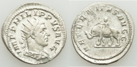 Philip I (AD 244-249). AR antoninianus (22mm, 4.28 gm, 1h). XF. Rome, AD 247-249. IMP PHILIPPVS AVG, radiate, draped and cuirassed bust of Philip I ri...