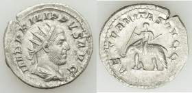 Philip I (AD 244-249). AR antoninianus (22mm, 4.16 gm, 1h). XF. Rome, AD 247-249. IMP PHILIPPVS AVG, radiate, draped and cuirassed bust of Philip I ri...