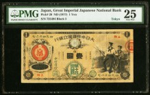 Japan Greater Japan Imperial National Bank, Tokyo #15 1 Yen ND (1877) Pick 20 JNDA 11-16 PMG Very Fine 25. An impressive and conditionally rare exampl...