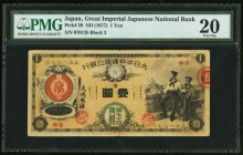 Japan Greater Japan Imperial National Bank, Yokohama #74 1 Yen ND (1877) Pick 20 JNDA 11-16 PMG Very Fine 20. A handsome and much above average exampl...