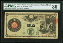 Japan Greater Japan Imperial National Bank, Tokyo #15 5 Yen ND (1878) Pick 21 JNDA 11-15 PMG Very Fine 30. These notes were printed domestically in Ja...