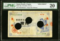 Japan Bank of Japan 10 Yen ND (1885) Pick 24s JNDA 11-23 Specimen PMG Very Fine 20. An incredibly rare denomination to find in any form, and missing f...