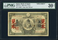 Japan Bank of Japan 5 Yen 1899-1910 Pick 31s JNDA 11-32 Specimen PMG Very Fine 30 Net. A rare and seldom seen Specimen, of which this is the lone exam...