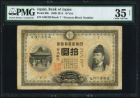 Japan Bank of Japan 10 Yen 1899-1913 Pick 32b PMG Choice Very Fine 35 Net. A scarce 10 Yen that was convertible for gold, which in turn accounts for t...