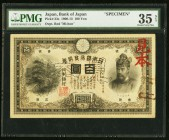 Japan Bank of Japan 100 Yen 1913 (Taisho Yr 2) Pick 33s Specimen JNDA 11-30 PMG Choice Very Fine 35 Net. A Taisho Year 2 Specimen of the largest denom...
