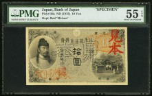 Japan Bank of Japan 10 Yen ND (1915) Pick 36s JNDA 11-35 Specimen PMG About Uncirculated 55 EPQ. This well preserved gold certificate is the sole fine...