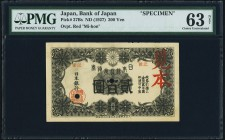 Japan Bank of Japan 200 Yen ND (1927) Pick 37Bs JNDA 11-41 Specimen PMG Choice Uncirculated 63 Net. An incredibly rare and historically important Spec...