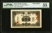 Japan Bank of Japan 200 Yen ND (1927) Pick 37Bs Specimen PMG About Uncirculated 55. The second best of four examples offered in this auction, which re...
