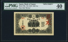 "Japan Bank of Japan 200 Yen ND (1927) Pick 37Bs Specimen PMG Extremely Fine 40. A true Specimen with ""Block Number"" in the block number area, a Mi-hon..."